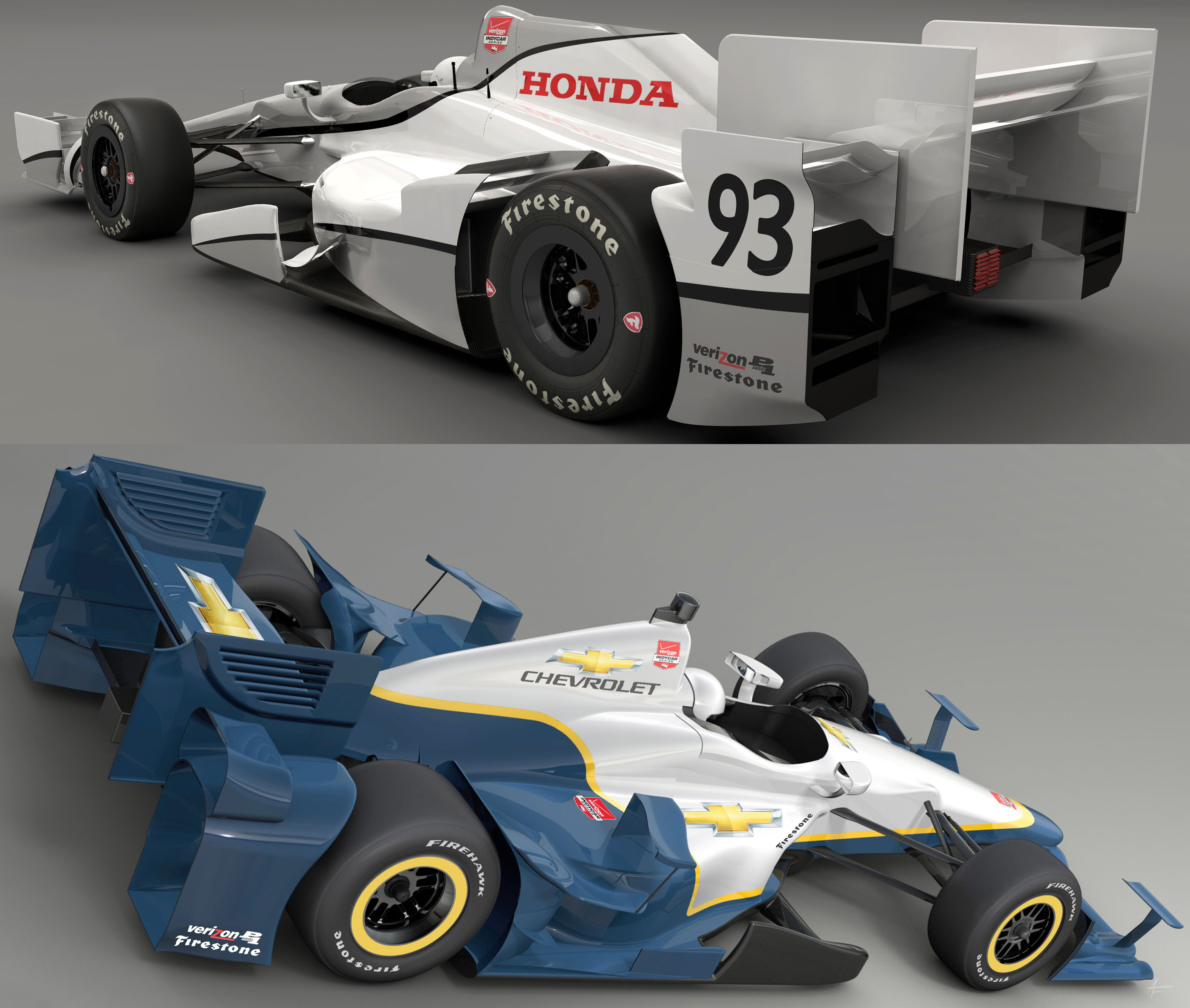 2015 IndyCar Aero: Honda/Chevy Side-by-Side Comparison