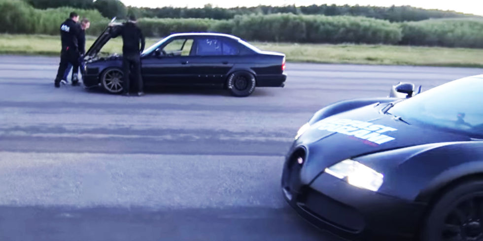How the Hell Does This Ratty E34 BMW Run Away From a Bugatti Veyron?