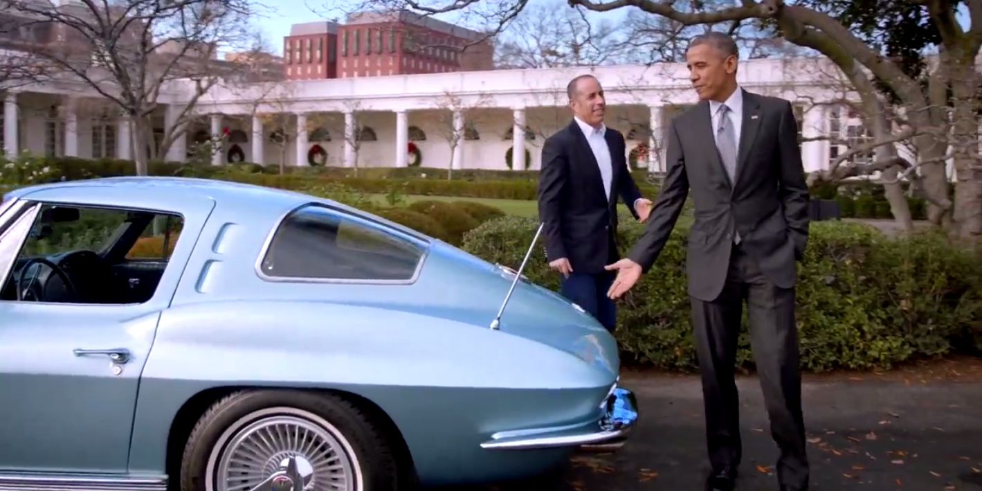 barack obama and jerry seinfeld in a corvette. Black Bedroom Furniture Sets. Home Design Ideas