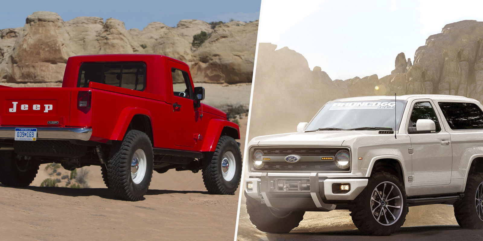 2017 Jeep Wrangler Pickup Vs 2020 Ford Bronco Which