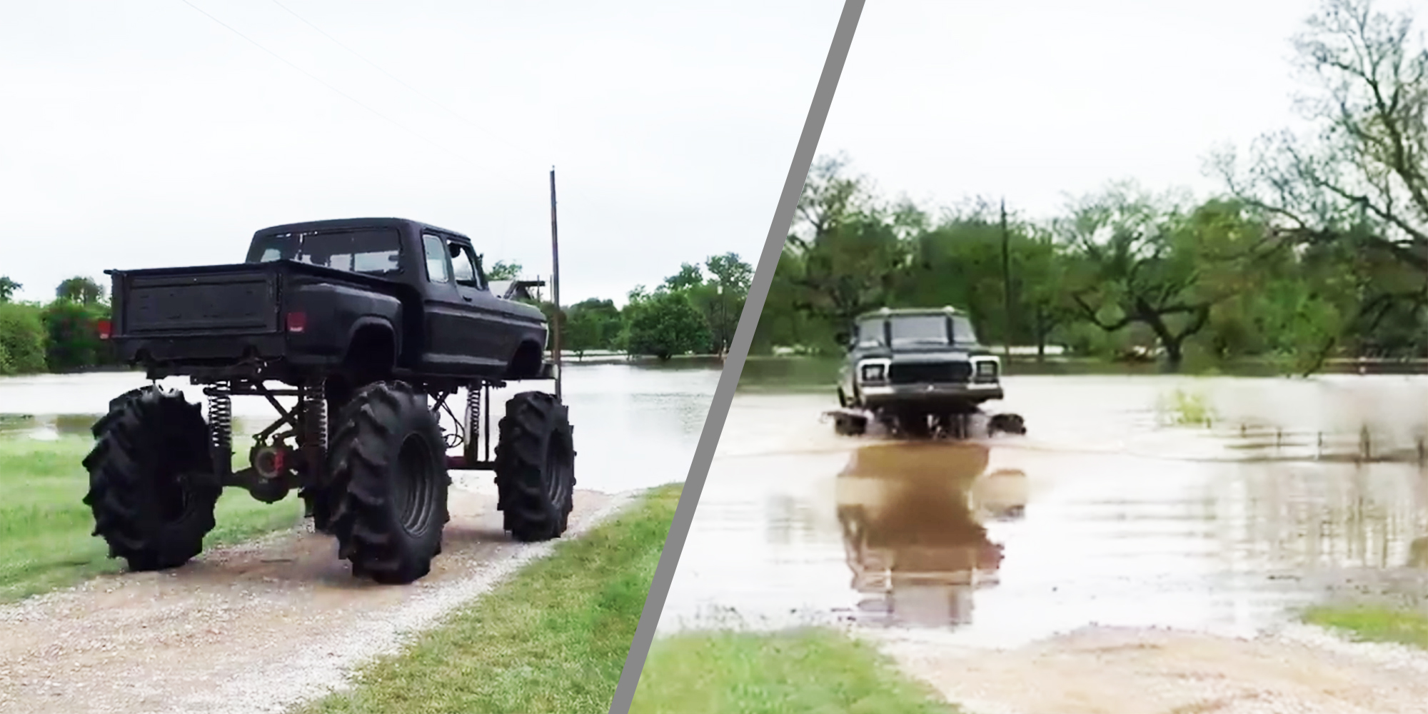 watch a monster truck hero save a stranded neighbor in