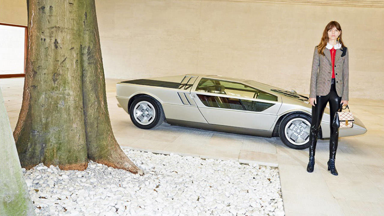 maserati boomerang concept shows up in new louis vuitton campaign. Black Bedroom Furniture Sets. Home Design Ideas