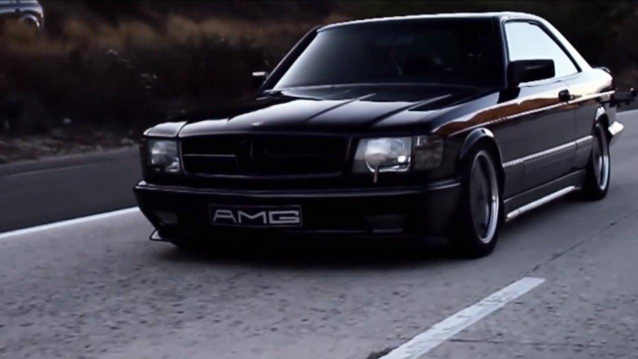 this sinister 1988 mercedes benz 560 sec amg is a thing of beauty 560 sec amg video. Black Bedroom Furniture Sets. Home Design Ideas
