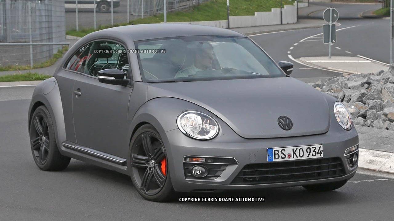 2015 volkswagen beetle r spy shots prototype vw beetle r at nurburgring. Black Bedroom Furniture Sets. Home Design Ideas