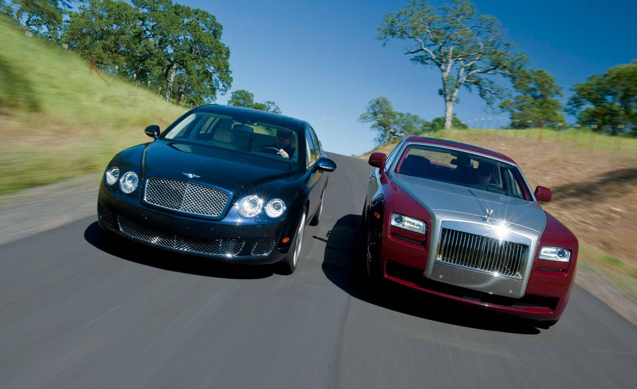 rolls royce ghost vs bentley continental flying spur speed