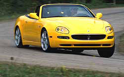 The Maserati Spyder GT's heritage comes through loud and clear, especially when its 7550-rpm redline is probed. Its engine is fantastic