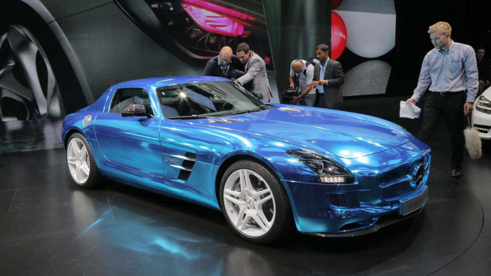 mercedes benz sls amg coupe electric drive 2012 paris auto show electric drive in blue - Mercedes Benz Sls Amg Electric Drive Black